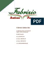 Menu Fabrizio Italian Bar