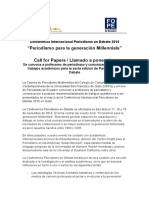 """Llamado a ponencias académicas Conferencia #PerDebate16 """"Periodismo para la generación Millennials"""""""