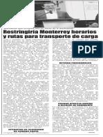 17-03-16 Restringiría Monterrey horarios y rutas para transporte de carga