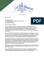 City of LA to CPUC on Fingerprinting Pilot Program