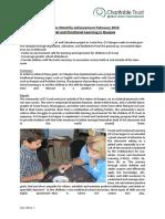 Monthly Achievement Report Quepos February 2016