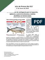 Boletín 012 en Marcha Plan de Contingencia Para La Inspección, Vigilancia y Control de Alimentos y Bebidas Alcohólicas en Semana Santa