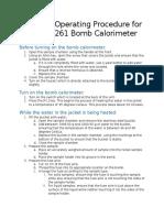 Standard Operating Procedure for the Parr 1261 Bomb Calorimeter