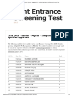 JEST 2016 - Results - Physics - Integrated PhD - Qualified Applicants _ Joint Entrance Screening Test