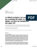 La Fábula Esópica, Los Cuentos y Los Exempla Del SigloXiv en El Baldo, Un Libro de Caballerías Del SigloXVI