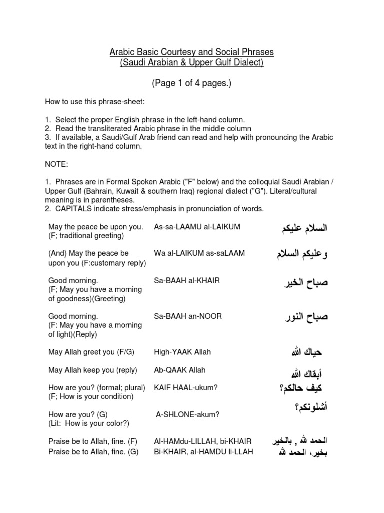 Arabic Saudi Upper Gulf Dialects Basic Courtesy Phrases 4 Pp