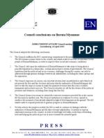 EU-Council conclusions on Burma/Myanmar