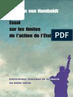 Essai Sur Les Limites de l'Action de l'Etat - Wilhelm Humboldt