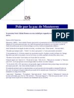 Pide Jesús Adrián Romero por la paz de Monterrey