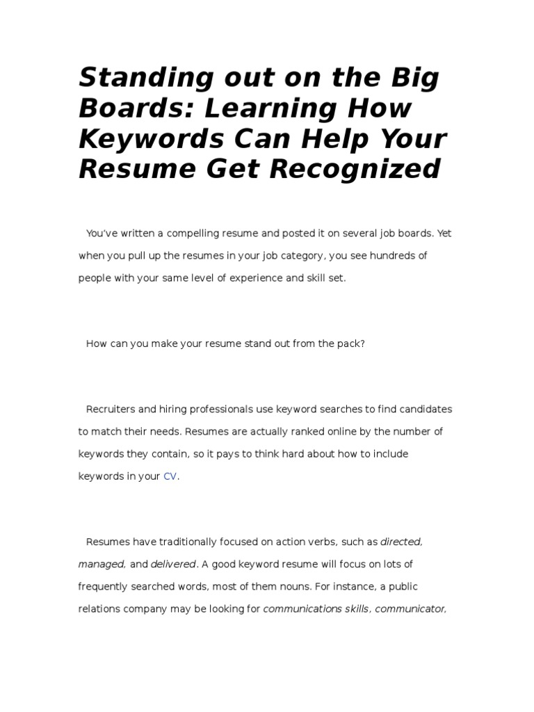 standing out on the big boards learning how keywords can help your