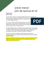 Bolivia Prevé Menor Producción de Quinua en El 2016