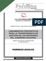 Lineamientos para la transferencia de gestión - 18.03.16