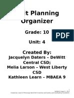 grade 10 unit plan