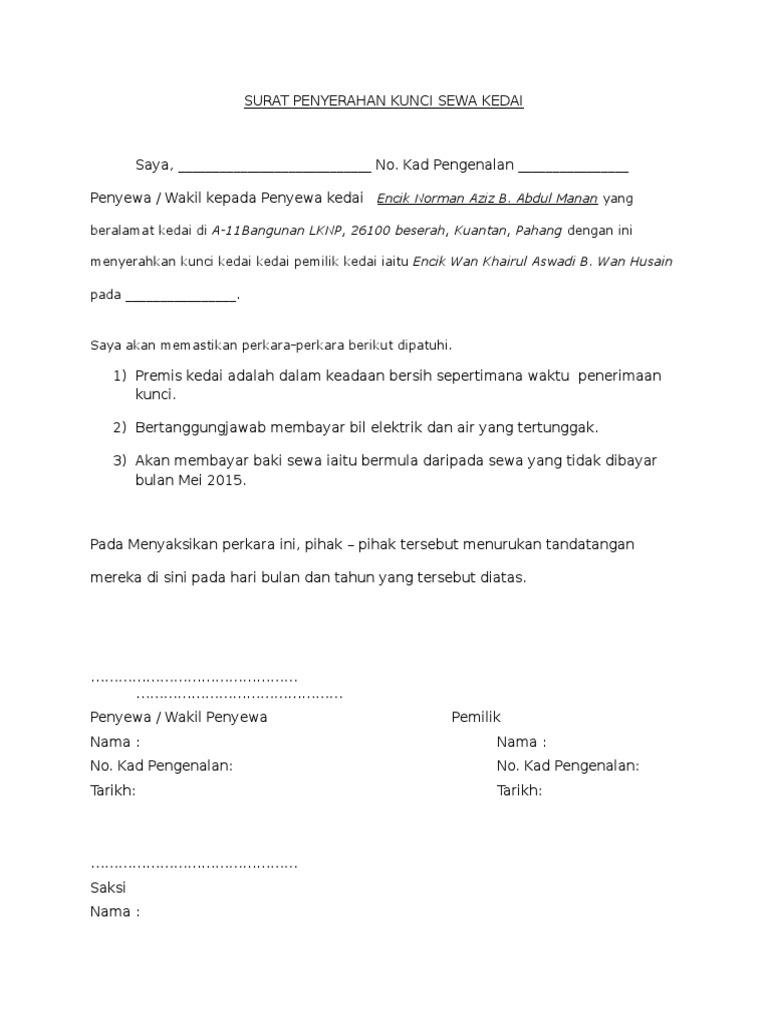 Surat Penyerahan Kunci Sewa Kedai