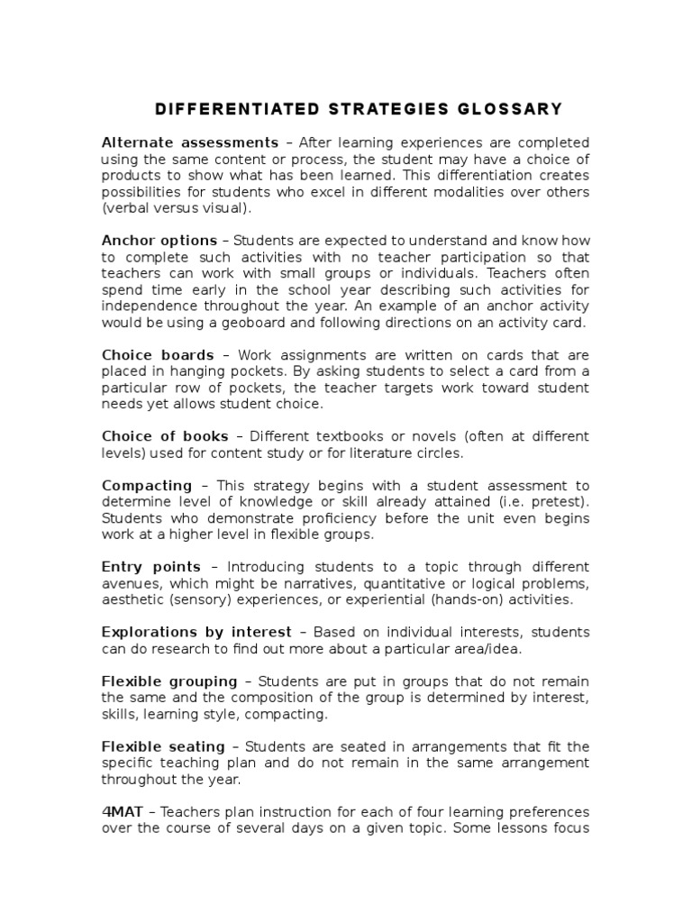 Impt Differentiated Instruction Strategies Glossary