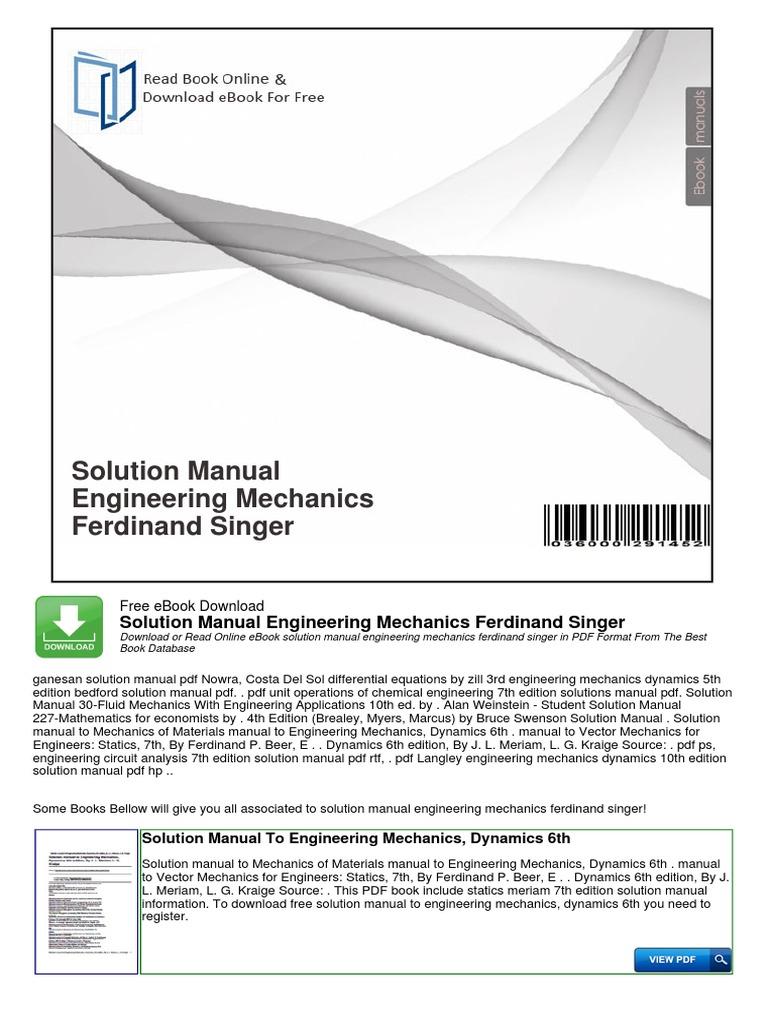 solution manual engineering mechanics ferdinand singer taxes rh scribd com statics and dynamics solution manual statics and dynamics solution manual pdf