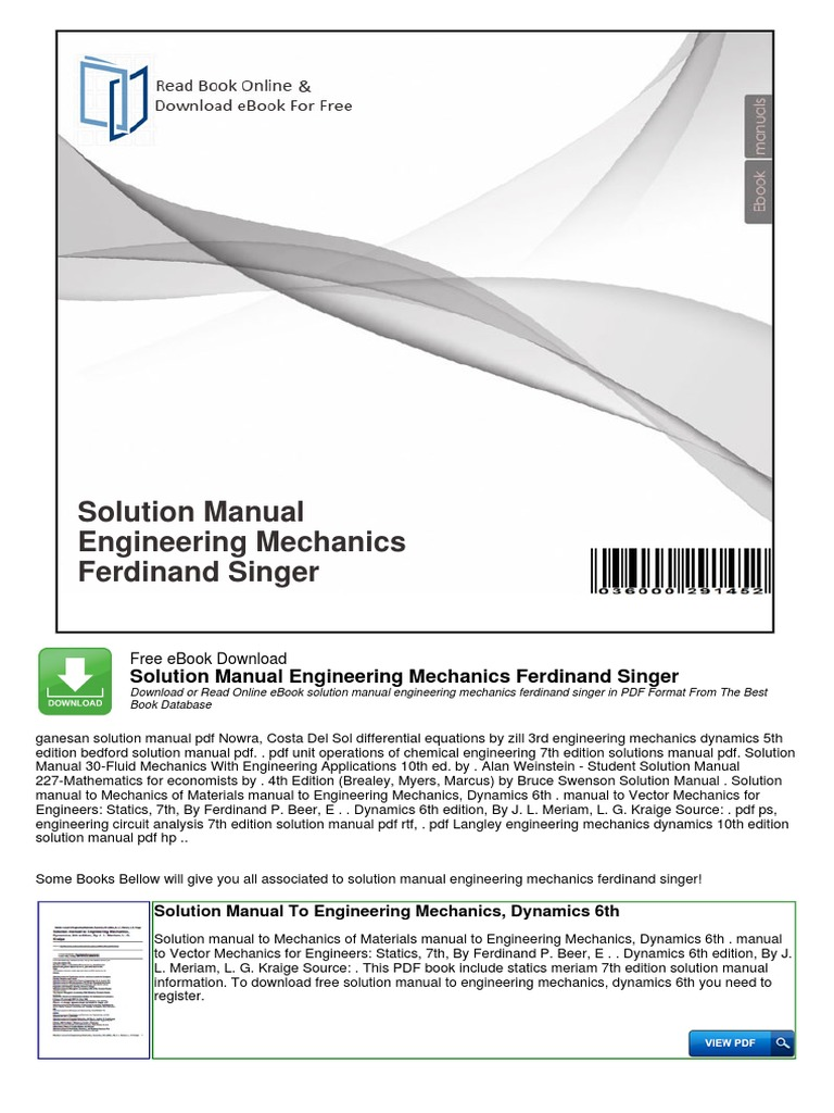 Solution Manual Engineering Mechanics Ferdinand Singer | Taxes | Engineering