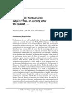 Callus, Herbrechter, Posthumanist Subjectivities