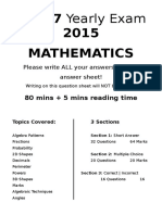 Year 7 Yearly Exam 2015