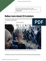 Balkan Route Closed, EU to Declare – POLITICO