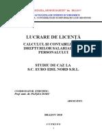 Calculul si Contabilitatea Drepturilor Salariale ale Personalului - Studiu de Caz la SC Euro Edil Nord SRL.doc