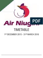 Air Niugini Schedule Dec - March 2016