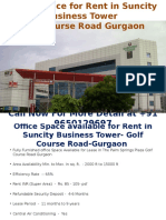 Office Space Available for Rent in Suncity Business Tower- Golf Course Road-Gurgaon-9650129697