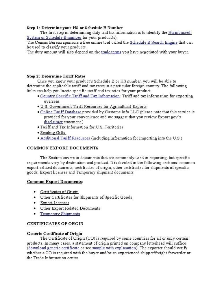 tariff rates | tariff | exports