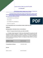 Ley de Presupuesto Del Sector Público Para El Año Fiscal 2016