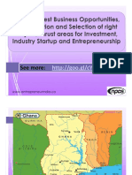 Ghana- Best Business Opportunities, Identification and Selection of right Project, Thrust areas for Investment, Industry Startup and Entrepreneurship