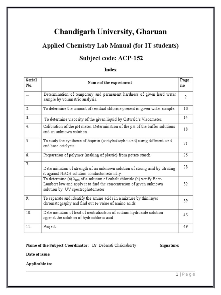 Lab Manual for IT( 16 Th Dec) | Absorbance | Ph