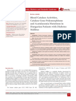 Blood Catalase Activities, Catalase Gene Polymorphisms and Acatalasemia Mutations in Hungarian Patients with Diabetes Mellitus