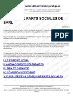 Cession de Parts Sociales de Sarl