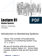 c Se 115 Lecture 01 Number Systems