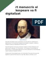 Un Scurt Manuscris Al Lui Shakespeare Va Fi Digitalizat
