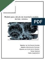 Modelo Para Calculo de Inventario Modelo de Lote Minimo