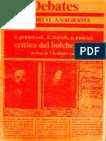 Crítica del Bolchevismo (Anton Pannekoek, Karl Korsch, Paul Mattick) (1973)