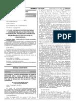 LEY QUE DECLARA DE INTERÉS NACIONAL Y NECESIDAD PÚBLICA LA RECUPERACIÓN, CONSERVACIÓN, PROTECCIÓN Y PROMOCIÓN DE LA LAGUNA DE CHOCLOCOCHA DE HUANCAVELICA