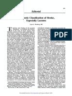 Diagnostic Classification of Stroke, Especially Lacunes