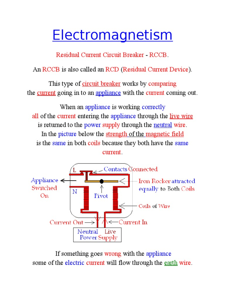 rccb operation electric current inductorDoes A Residual Current Circuit Breaker Work Rccb Gcse Science #12