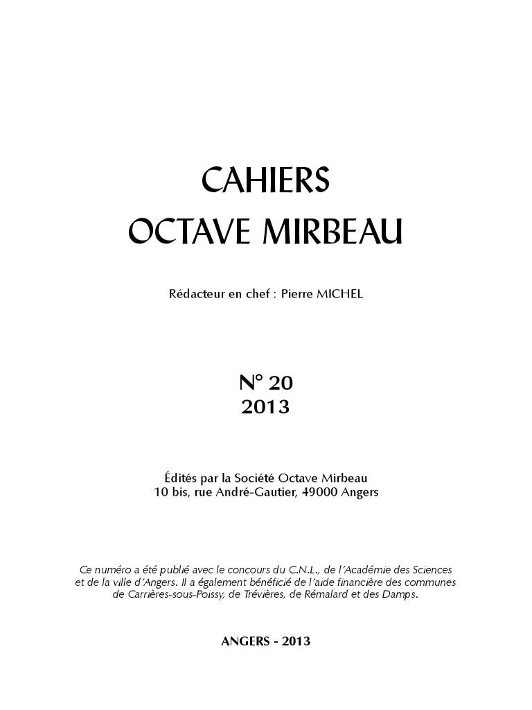 Cahiers Octave Mirbeau, n° 20 f61620b683f