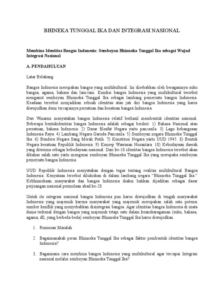 Makalah Identitas Dan Integrasi Nasional Bangsa Indonesia