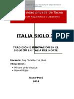 TRADICIÓN E INNOVACIÓN EN EL SIGLO XV EN ITALIA DEL NORTE