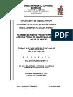 Factores de Riesgo Presente Para Cáncer Cervicouterino en Mujeres Del Municipio de Jalpa de Mendez. 2007.
