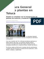 Inaugura General Motors Plantas en Toluca