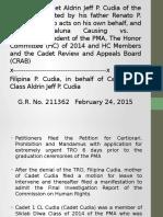 Cadet 1CL Cudia, Et. Al v PMA, Et. Al.