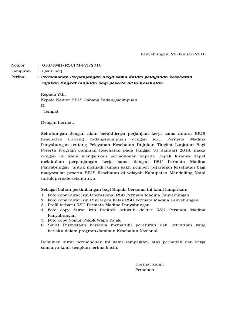 Contoh Surat Permohonan Kerjasama Klinik Dengan Bpjs ...