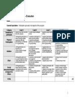 pe - fitness participation rubric