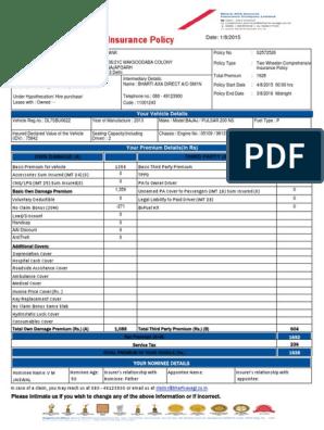 Bajaj Allianz Car Insurance Sample - Insurance