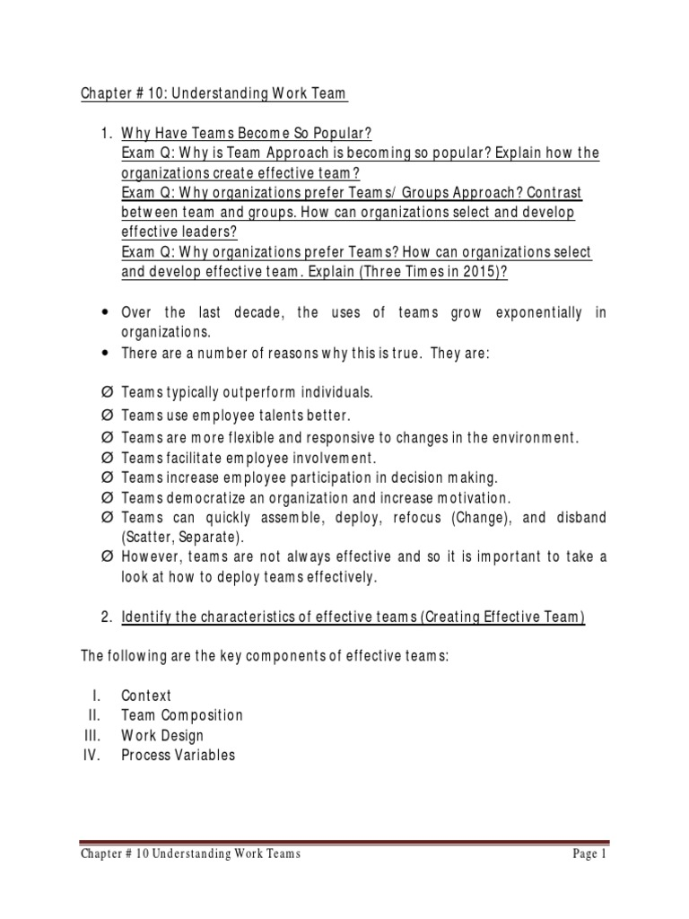 10 Chap 10 Understanding Work Teams Pdf Leadership Mentoring